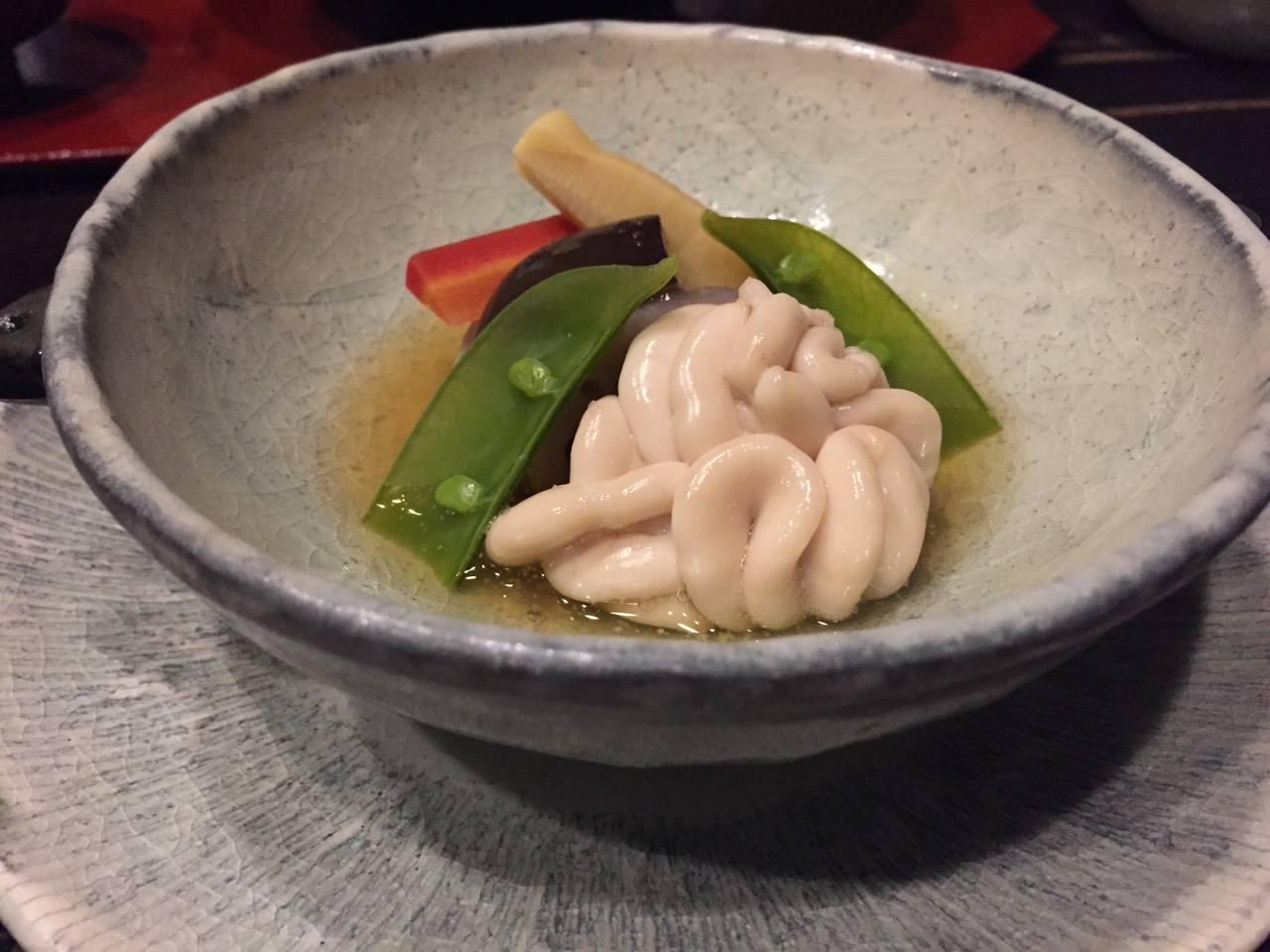 阿寒鶴雅別莊鄙之座晚餐菜餚-鱈魚白子